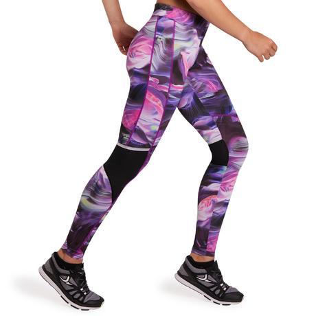 legging fitness cardio femme imprim violet energy xtrem domyos by decathlon. Black Bedroom Furniture Sets. Home Design Ideas