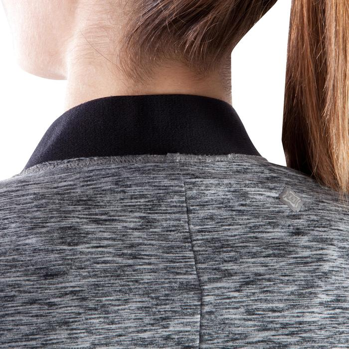 Trainingsjacke Yoga+ Damen schwarz graumeliert