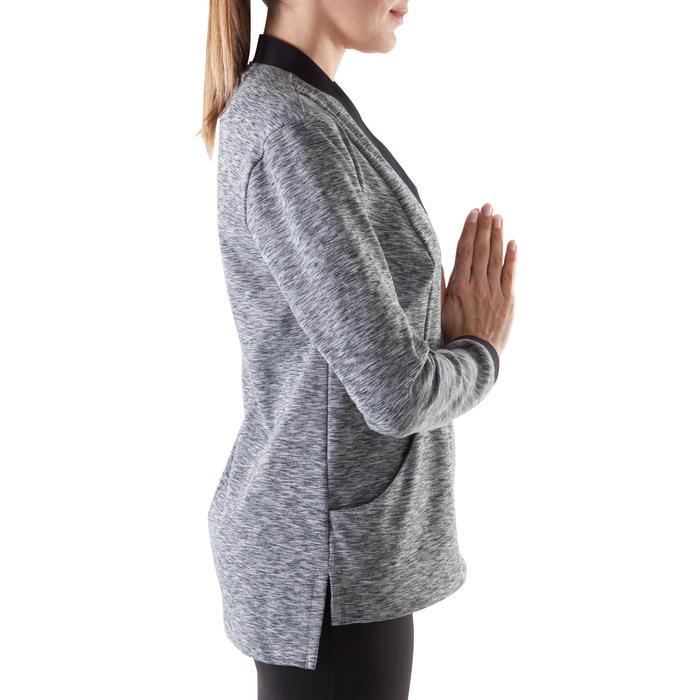 Damesvest yoga+ zwart / gemêleerd grijs