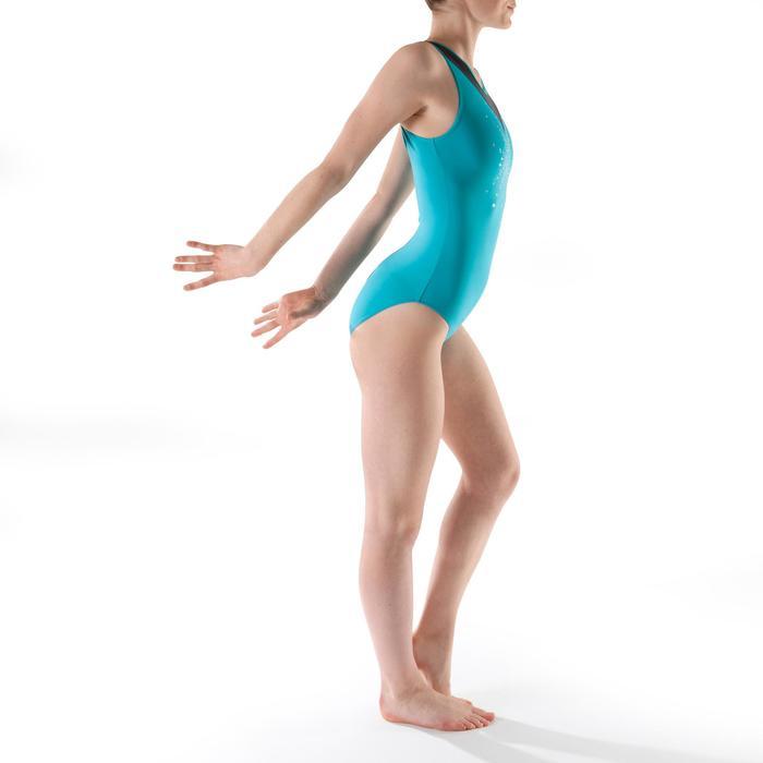 Justaucorps sans manches gym (GAF et GR) turquoise Sequins