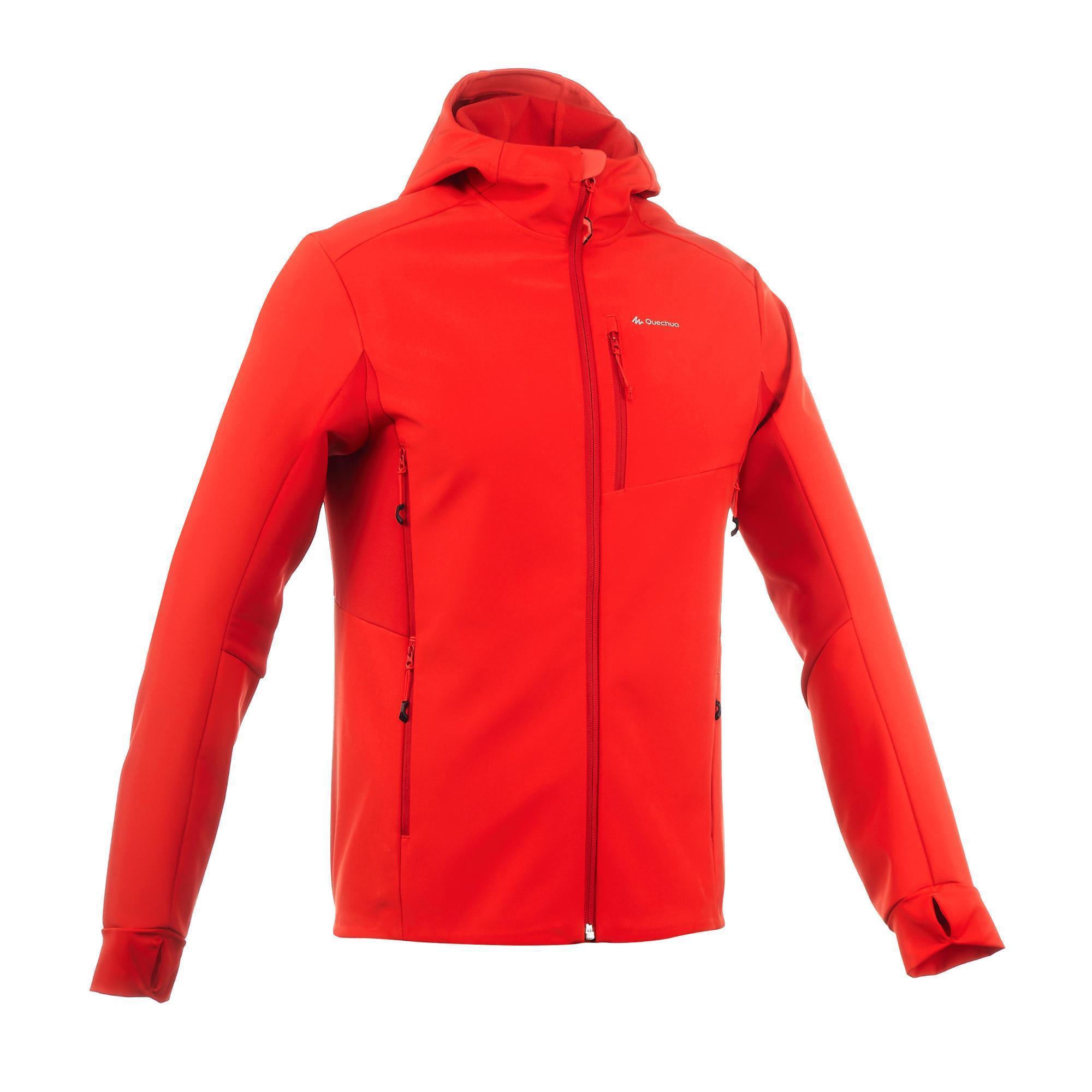 Men S Windwarm 500 Softshell Red Trekking Jacket Quechua
