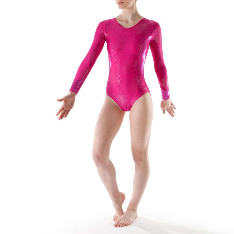 WOMEN ARTISTIC GYM APPAREL, HAND GRIP Gymnastics - Long-Sleeved Gym Leotard DOMYOS - Gymnastics