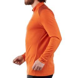 Merino wol herenshirt met lange mouwen voor bergtochten Techwool 190 rits oranje