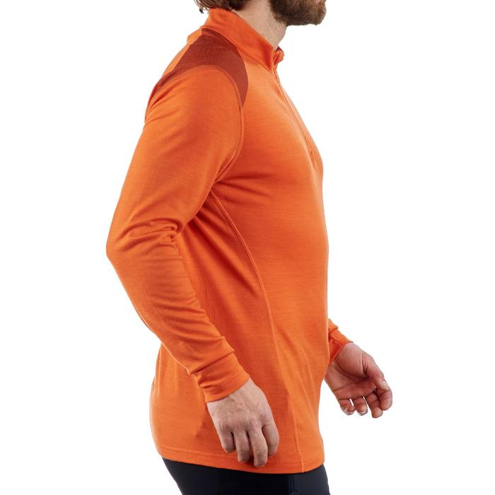 T- Shirt manches longues trekking montagne TECHWOOL190 zip homme orange