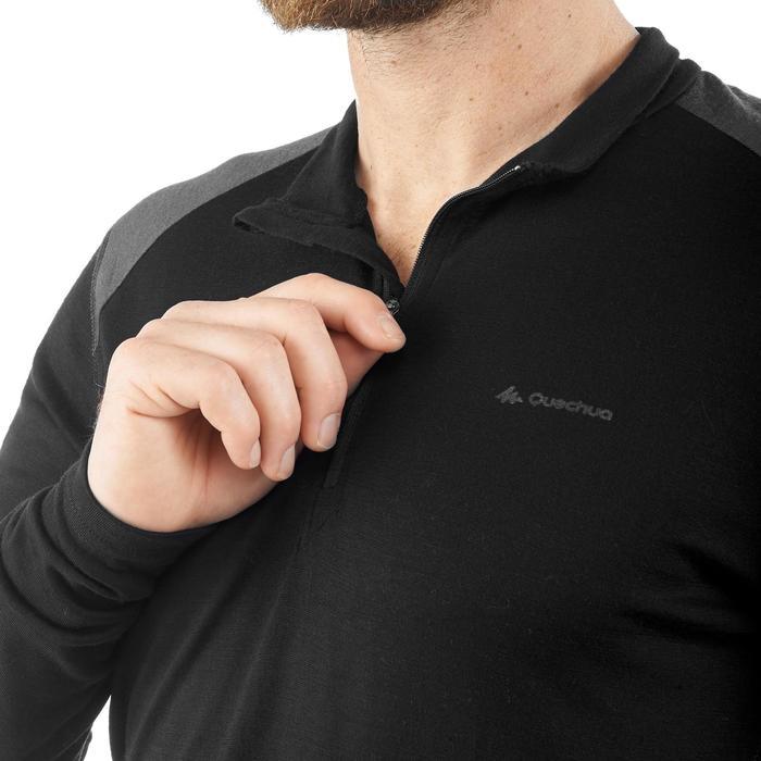Camiseta manga larga trekking montaña TECHWOOL190 cremallera hombre negro