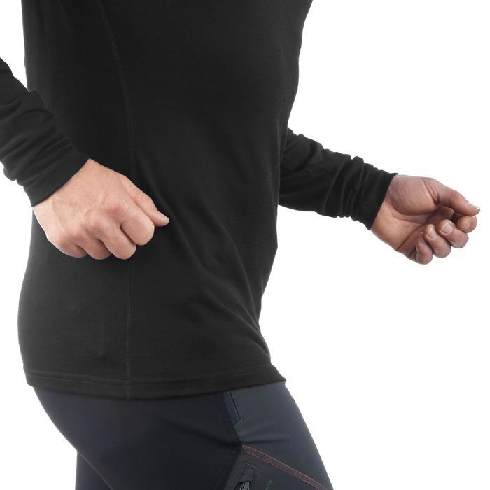 T- Shirt manches longues trekking montagne TECHWOOL190 zip homme noir