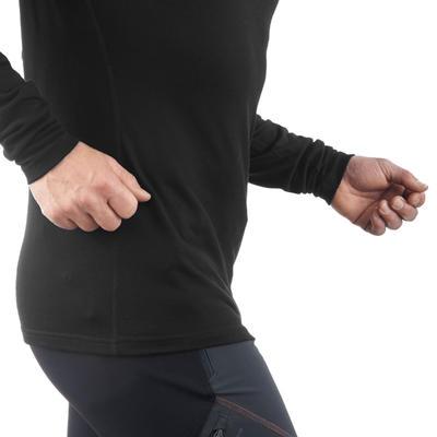 Men's black T-Shirt with long sleeves for mountain trekking TECHWOOL190 zip