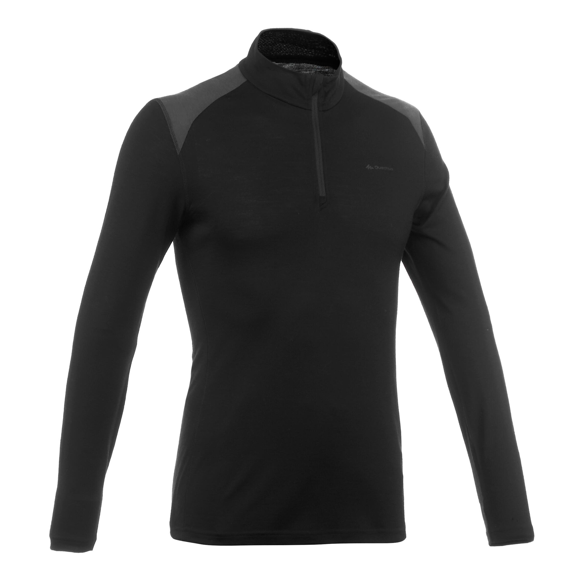 Men's Techwool 190 black zipped long-sleeved trekking T-shirt