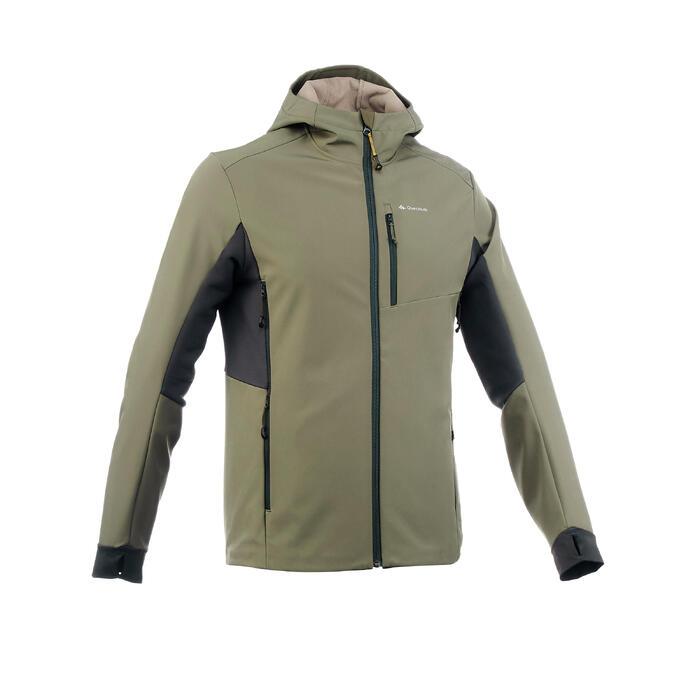 Softshell chaude coupe vent de trek montagne - TREK 500 WINDWARM kaki homme