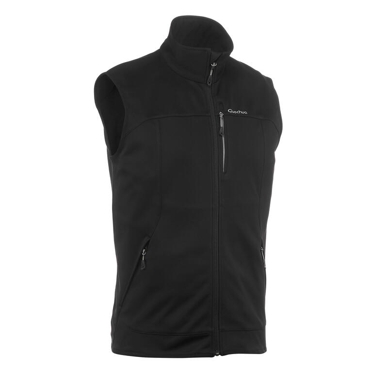Men's Mountain trekking Softshell windcheater gilet - TREK 500 WIND - black