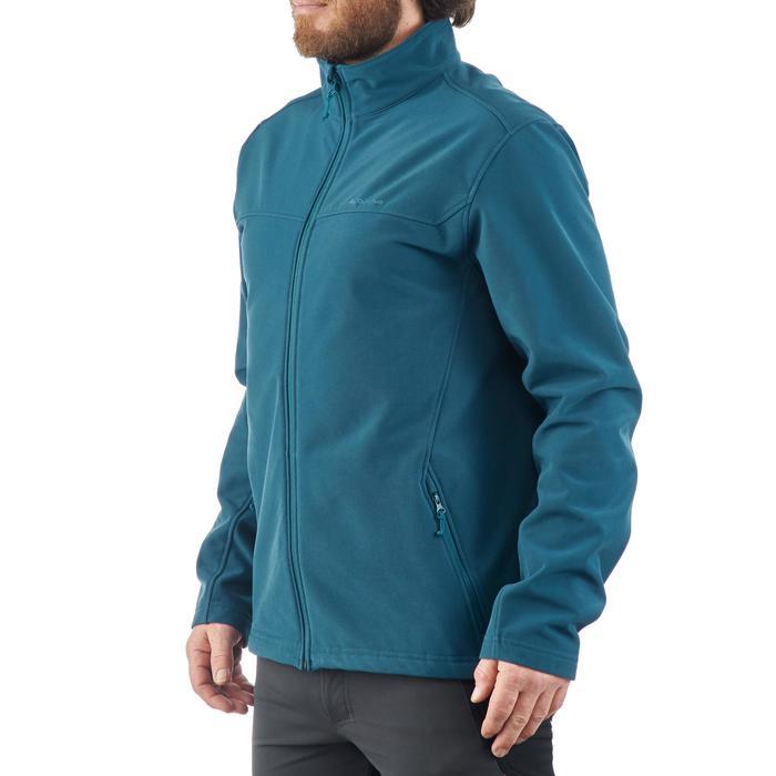 softshell herenjack voor trekking Windwarm 100 blauw
