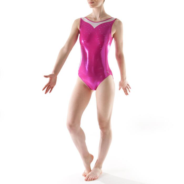 Justaucorps sans manches Gym Féminine (GAF) paillette/strass/voile - 1199774