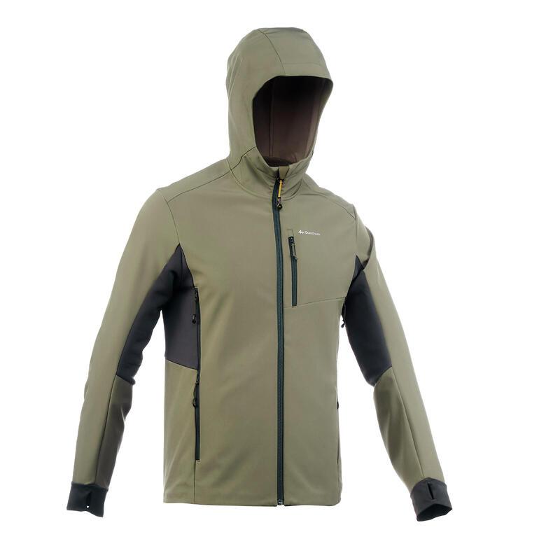 Warme winddichte softshell jas voor bergtrekking heren Trek 500 Windwarm kaki