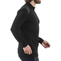 Men's Black Long-Sleeved Shirt for Mountain Trekking TECHWOOL190 Zip