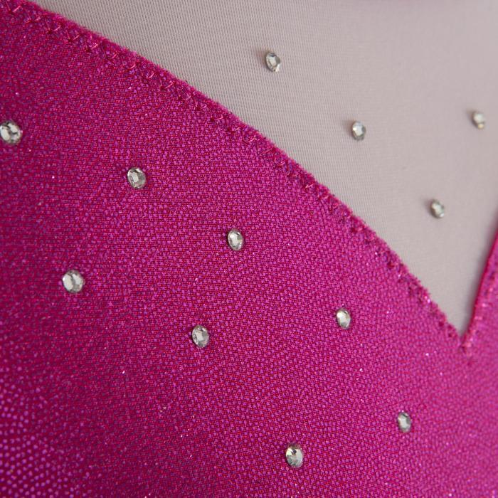 Mouwloos turnpakje (toestelturnen) voor dames lovertjes/strass/voile roze