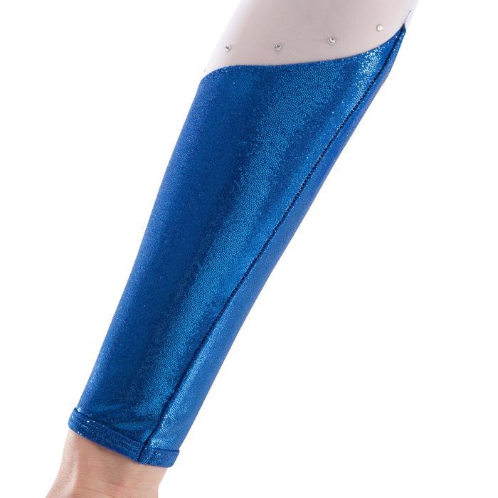 Justaucorps manches longues Gym Féminine (GAF) paillette/strass/voile bleu