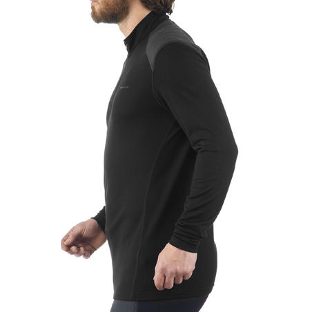 Men's black T-Shirt with long sleeves for mountain trekking TECHWOOL190 zip
