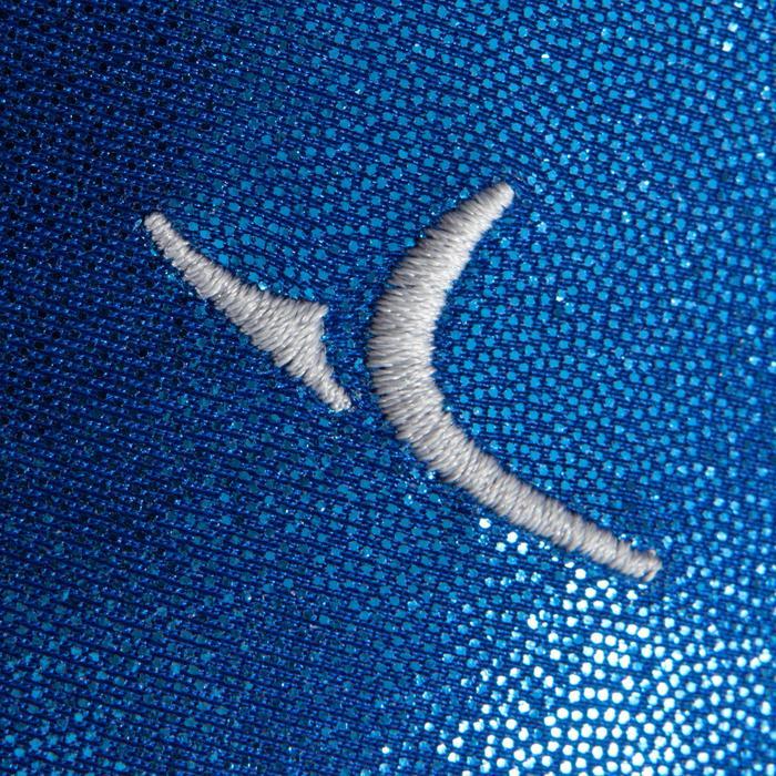 Turnpakje met lange mouwen (toestelturnen) dames lovertjes/strass/voile blauw