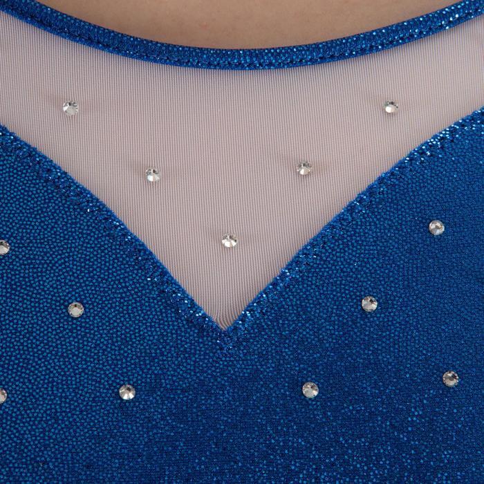 Justaucorps sans manches Gym Féminine (GAF/GR) paillette/strass/voile bleu