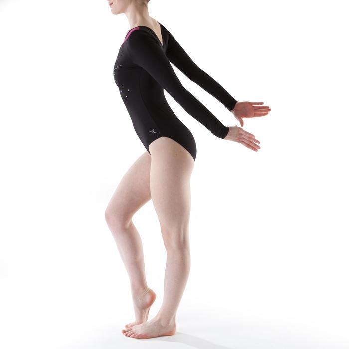 Justaucorps manches longues gym Noir/Rose Sequins