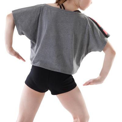 T-shirt danse gris court et ample manches courtes fille.