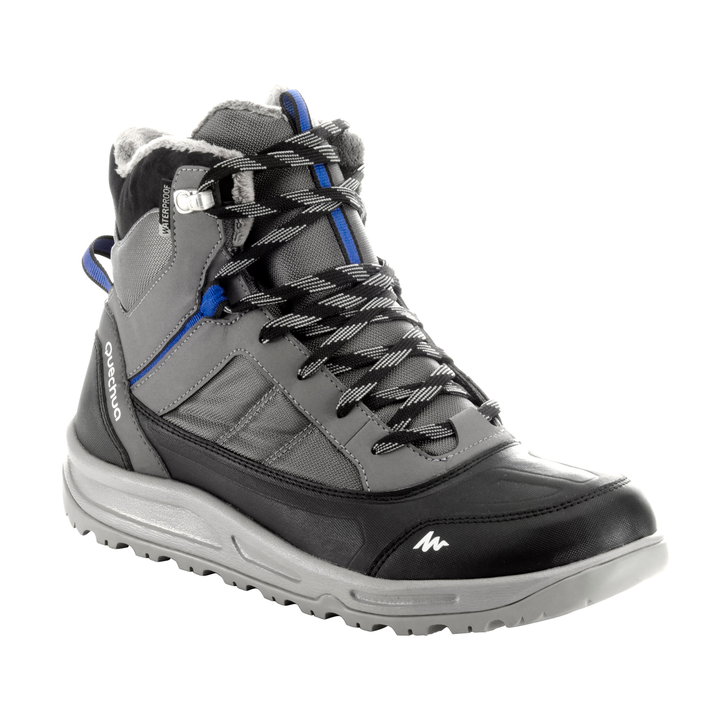SH120 Warm Mid Men's Snow Hiking Shoes - Grey.