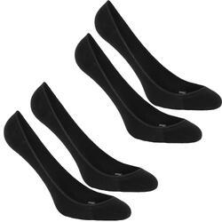 Ballerinasokjes voor dames voor sportief wandelen zwart (set van 2 paar)