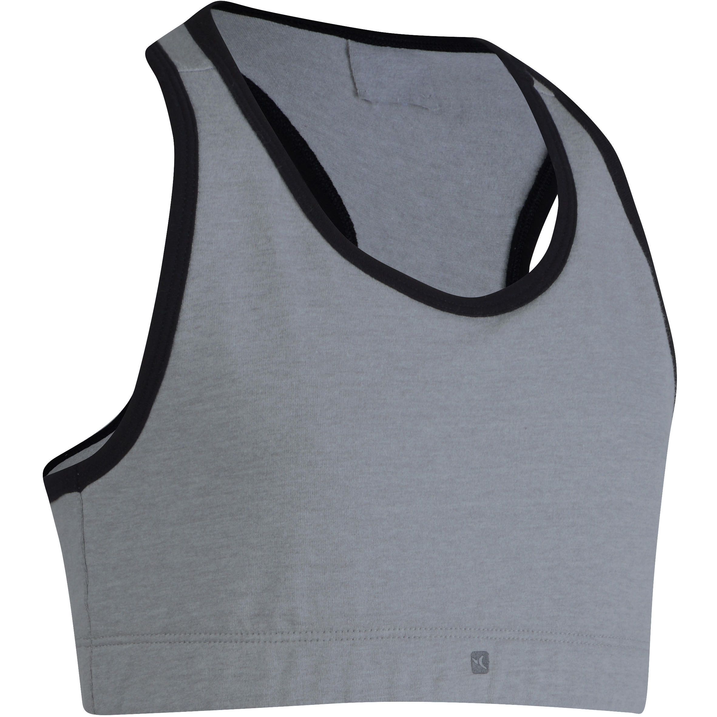 500 Girls' Gym Crop Top - Grey/Black