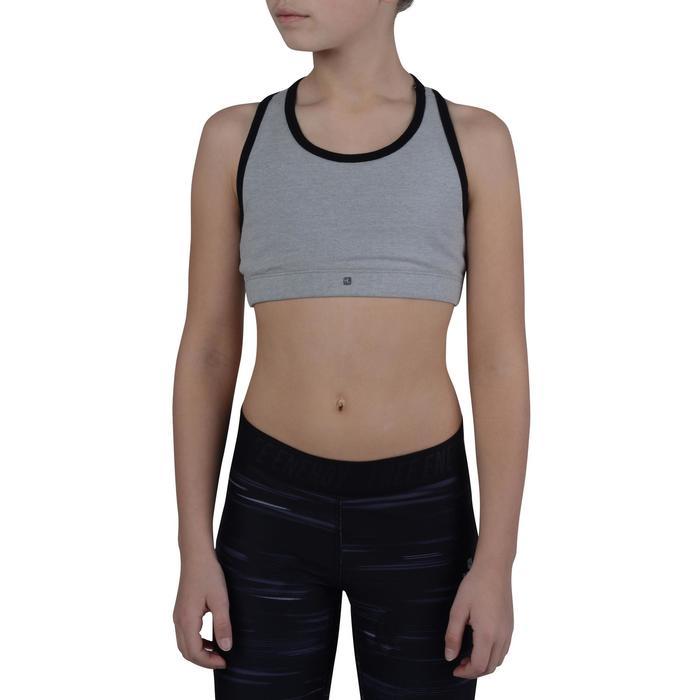 Brassière 500 Gym Fille gris noir - 1200229
