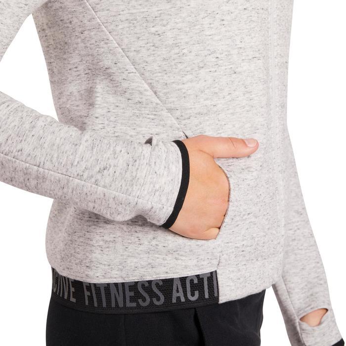 Veste 900 Gym & Pilates femme sans capuche gris effet neps - 1200338