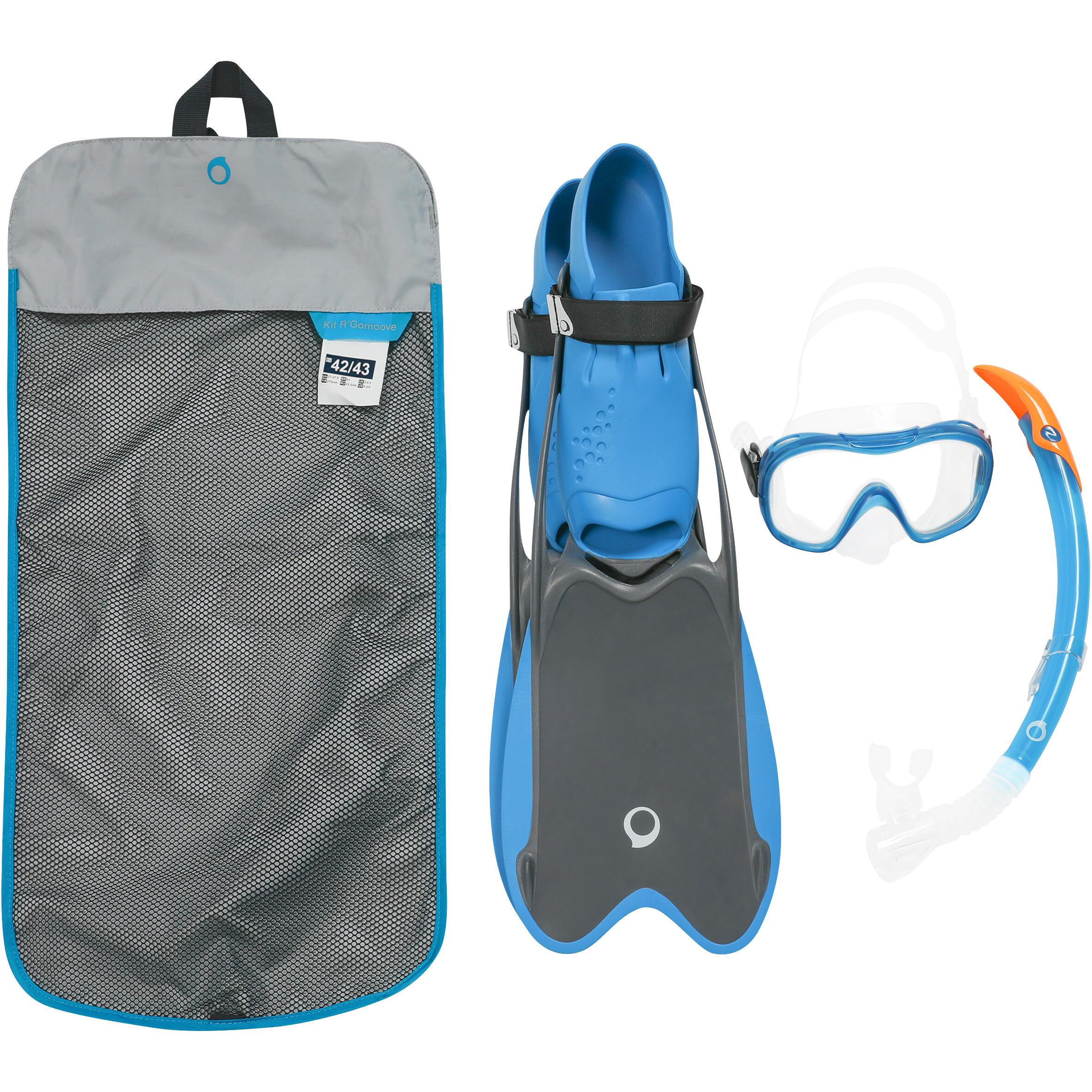Subea Snorkelset PMT vinnen, duikbril en snorkel R'gomoove volwassenen