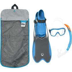 Snorkelset PMT vinnen, duikbril en snorkel R'gomoove volwassenen grijs blauw