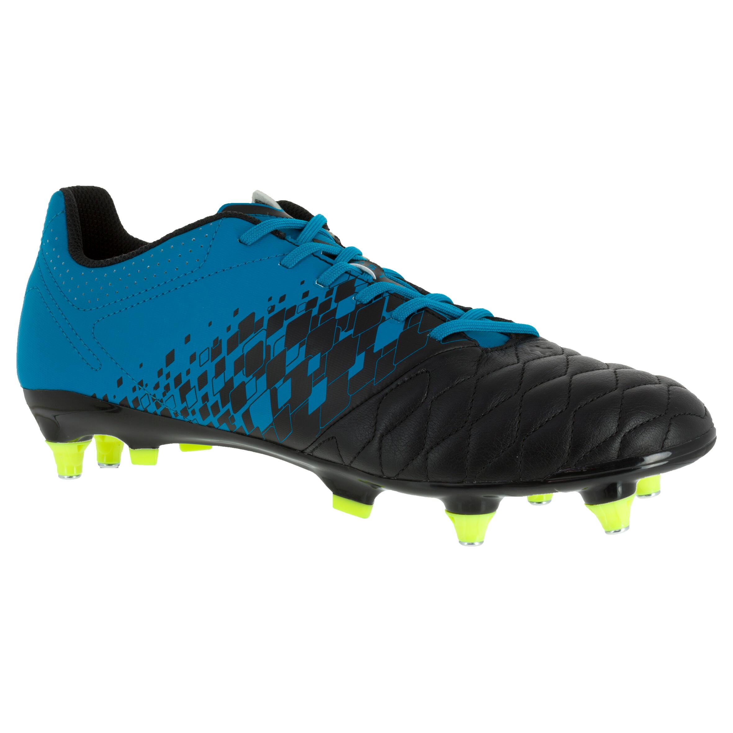 Botas de rugby adulto Hybride Agility 900 SG azul/negro