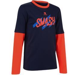青少年羽毛球及網球T恤Essential 500-海軍藍/黃色