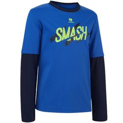 T SHIRT JUNIOR ESSENTIEL 500 BLEU MARINE TENNIS BADMINTON