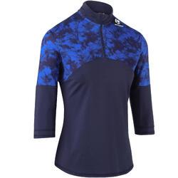 七分袖保暖網球上衣900-白堊色/軍藍色