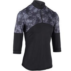 女性球拍運動七分袖上衣保暖900系列 -黑色