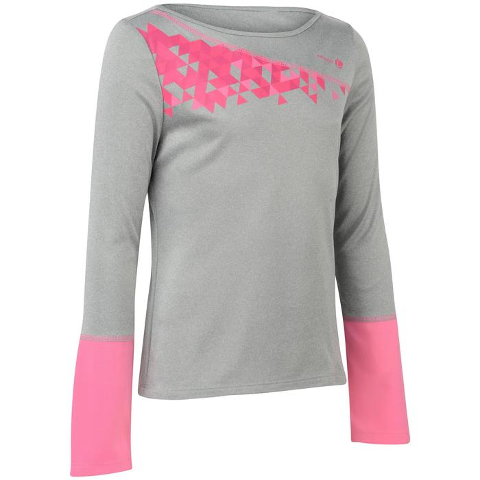 T SHIRT FILLE ESSENTIEL 500 GRIS TENNIS BADMINTON