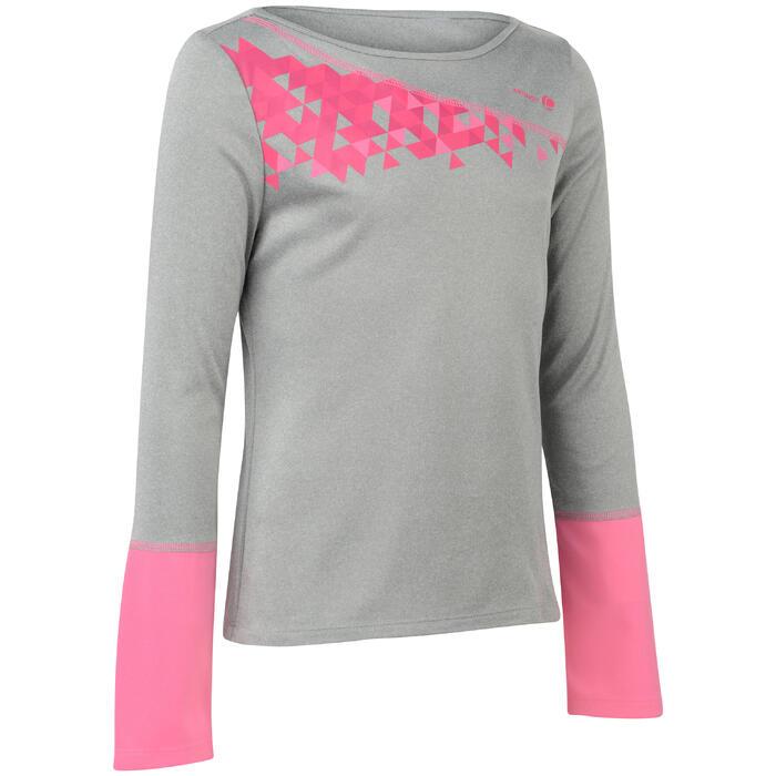 T-shirt Essentiel 500 meisjes grijs tennis / badminton