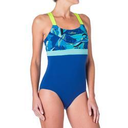 Maillot d'aquabike femme une pièce résistant au chlore Anna bleu