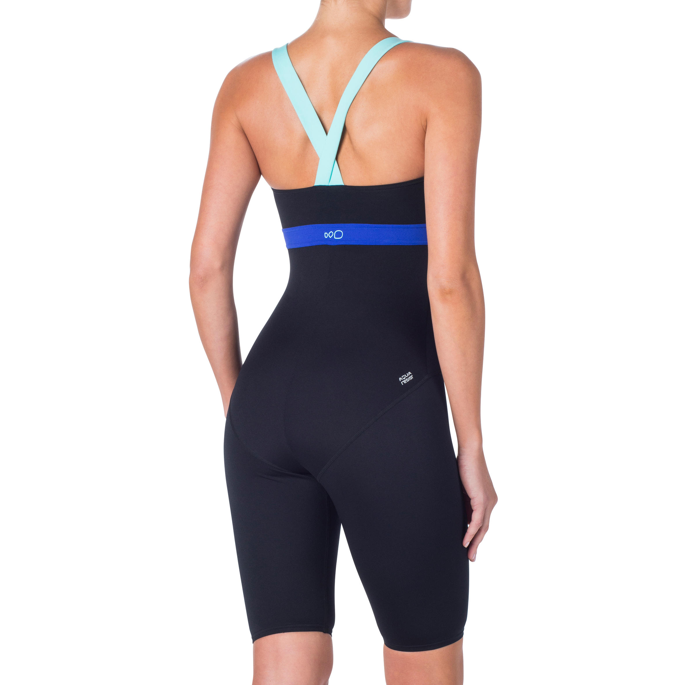 Maillot de bain d'aquacycle femme jammer résistant au chlore Anna noir bleu