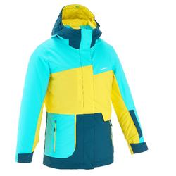 Ski-snowboardjas voor meisjes Free 500 blauw/geel