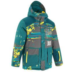男童單/雙板滑雪外套SNB JKT 500 - 深藍綠色