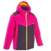 Rožnata in vijoličasta smučarska jakna 500 za deklice