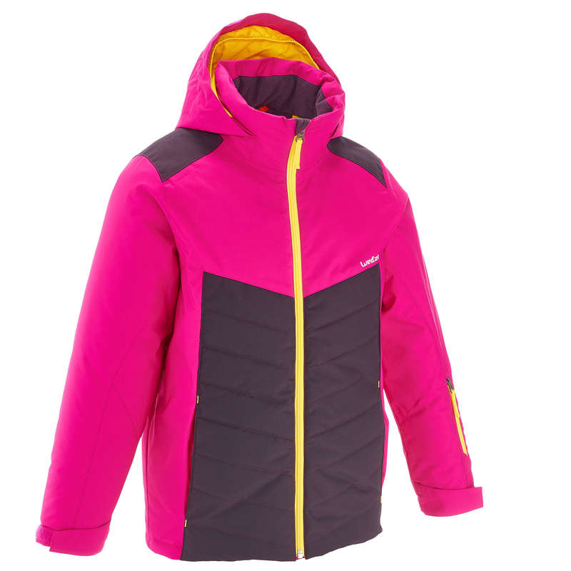 GIRL INTERMEDIATE ON PIST SKIING CLOTHS Clothing - KIDS' D-SKI JACKET 300 - PINK WEDZE - Coats and Jackets