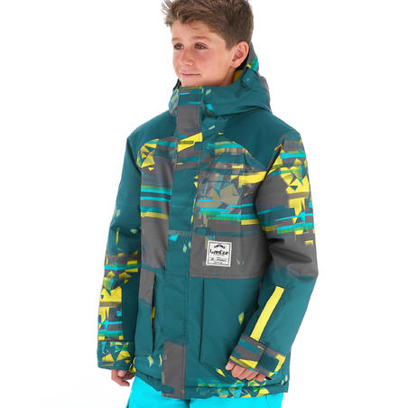Boys' Snowboard and Ski Jacket SNB 500 - Petrol Blue and Yellow