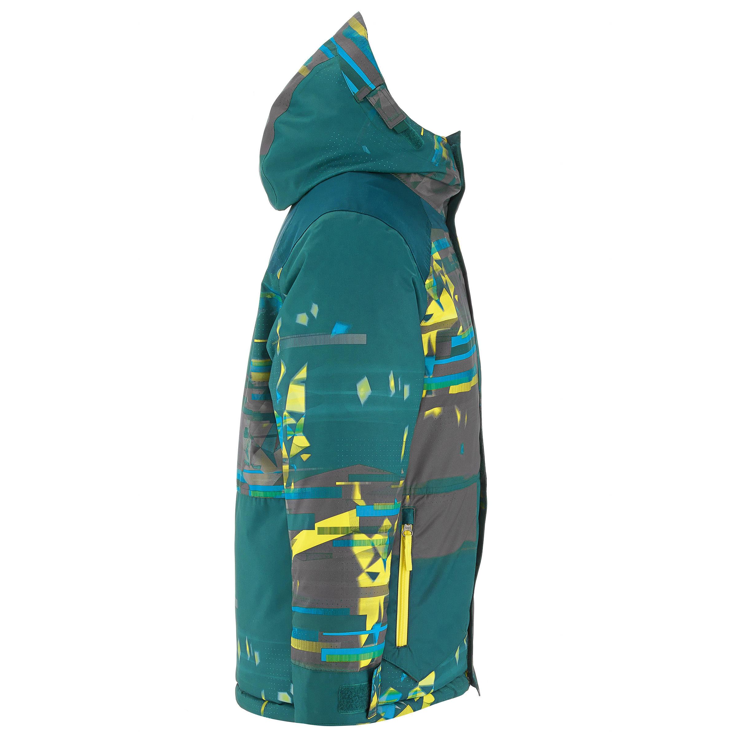 Manteau de planche à neige et ski SNB JKT 500 garçon pétrole sombre