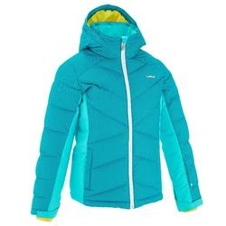 WARM MAXI GIRL'S SKI JACKET-TURQUOISE BLUE
