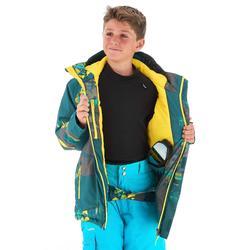 Veste de snowboard et de ski SNB 500 garçon bleu pétrole et jaune