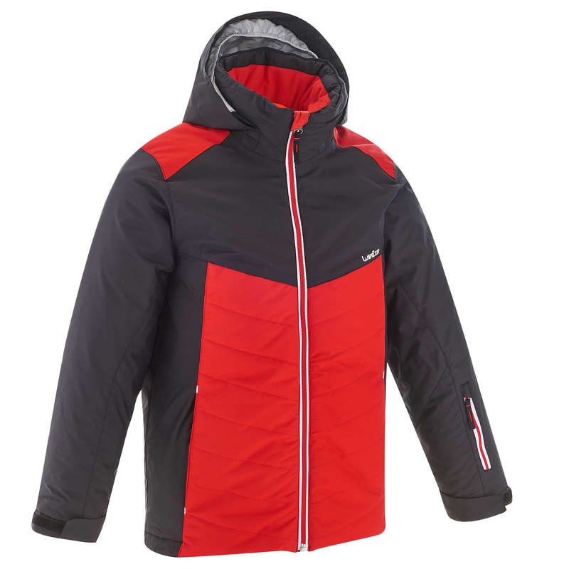 BOY. INTERMEDIATE ON PIST SKIING CLOTHS Clothing - JR D-SKI JACKET 300 - RED WEDZE - Coats and Jackets